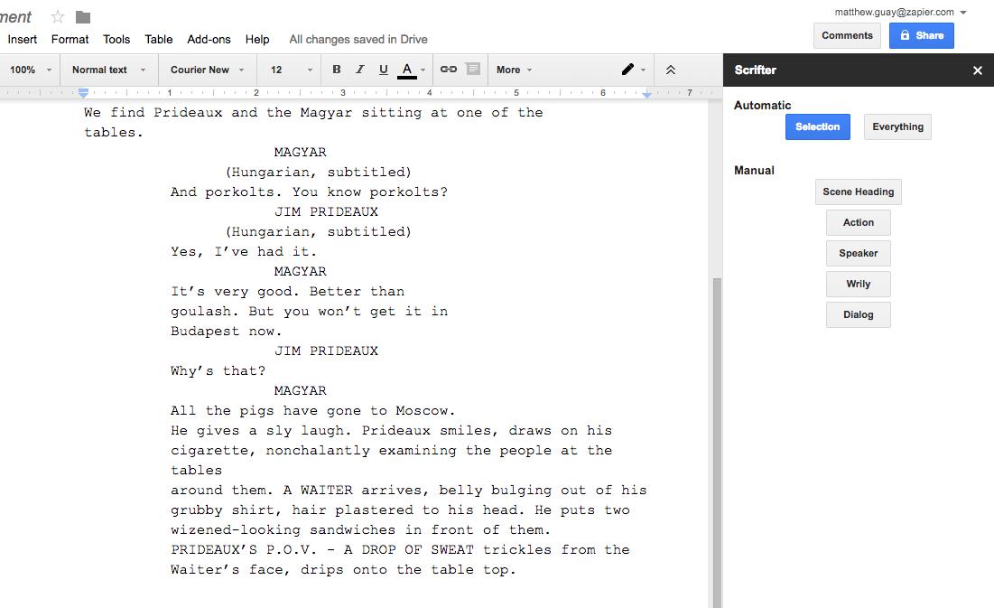 Как сделать сценарий в Google Документах