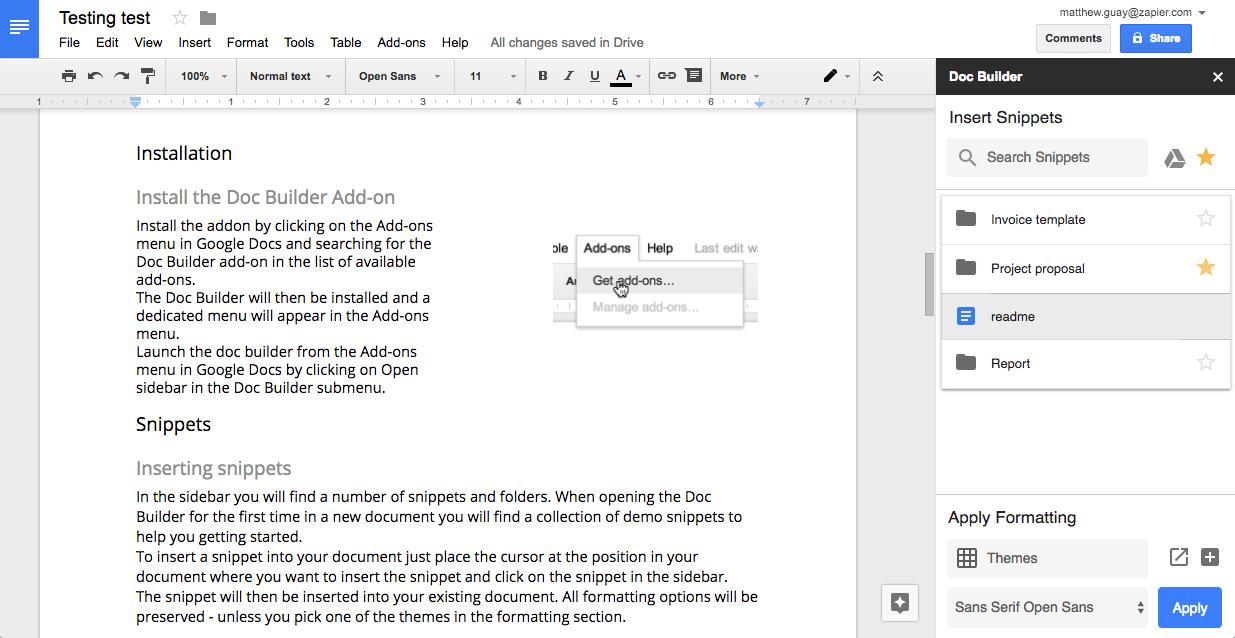 Как создать документ из сниппетов в Google Документах