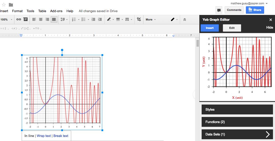 Как создать график и формулу в Google Документах