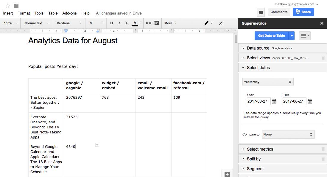 Как создать отчеты в Google Документах