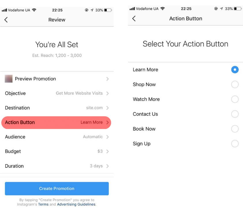 Как выбрать текст кнопки CTA в инстаграм