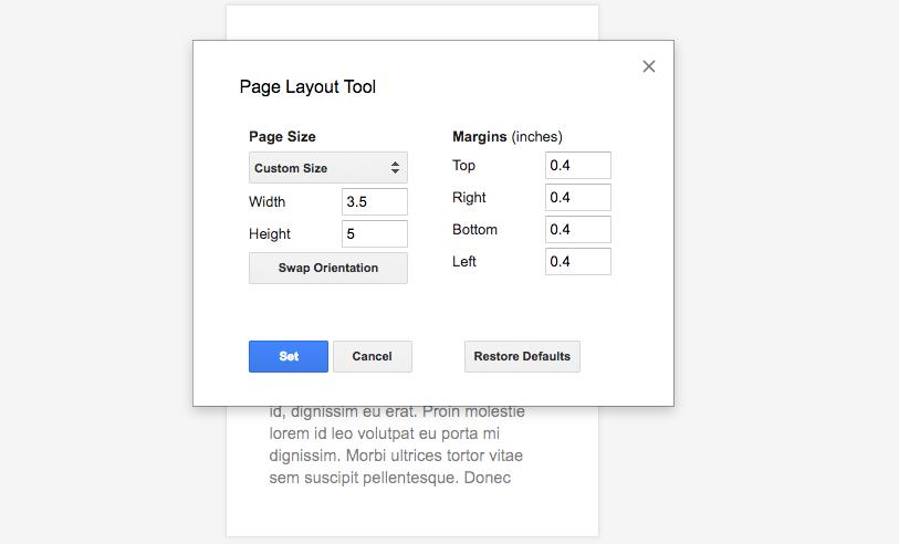 Как задать пользовательские размеры страниц в Google Документах
