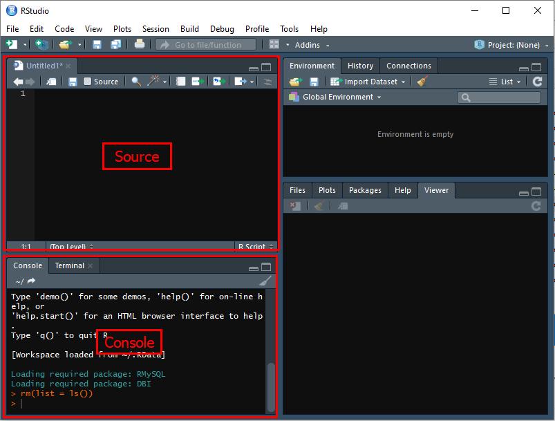 Как запустить в RStudio панели Source и Console
