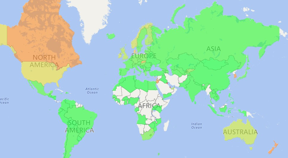 Карта стоимости клика в КМС в третьем квартале