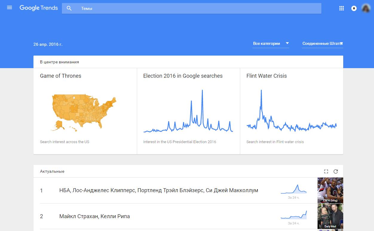 Обновленная главная страница Google Trends
