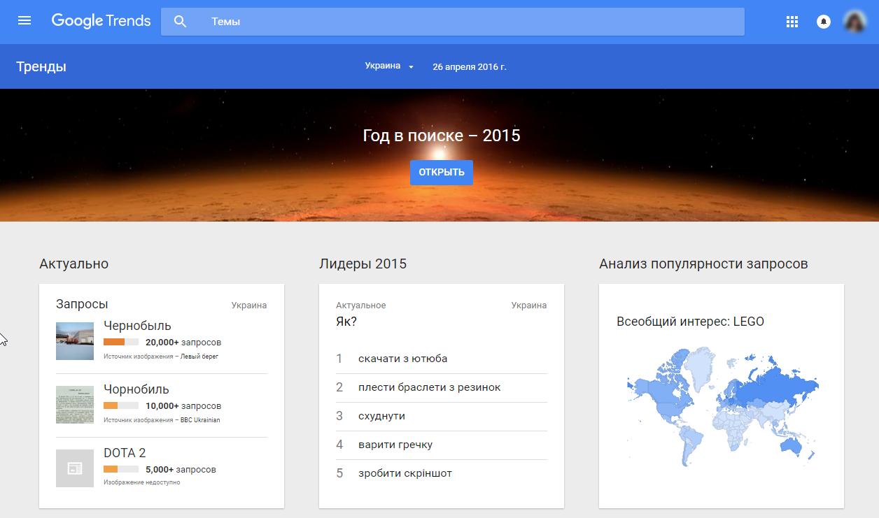 Главная страница Google Trends в Украине