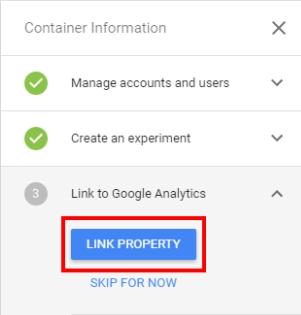 Кликните на кнопку «Link property»