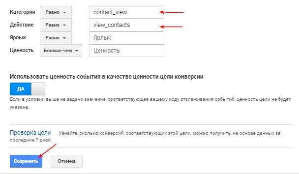 количество просмотров раздела «Контакты»
