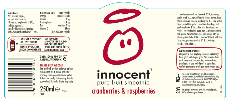 Этикетка Innocent drinks