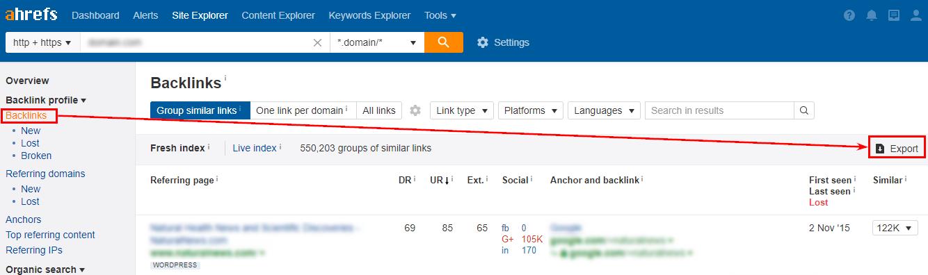 Можно экспортировать отчет как по внешним ссылкам, так и по внешним доменам