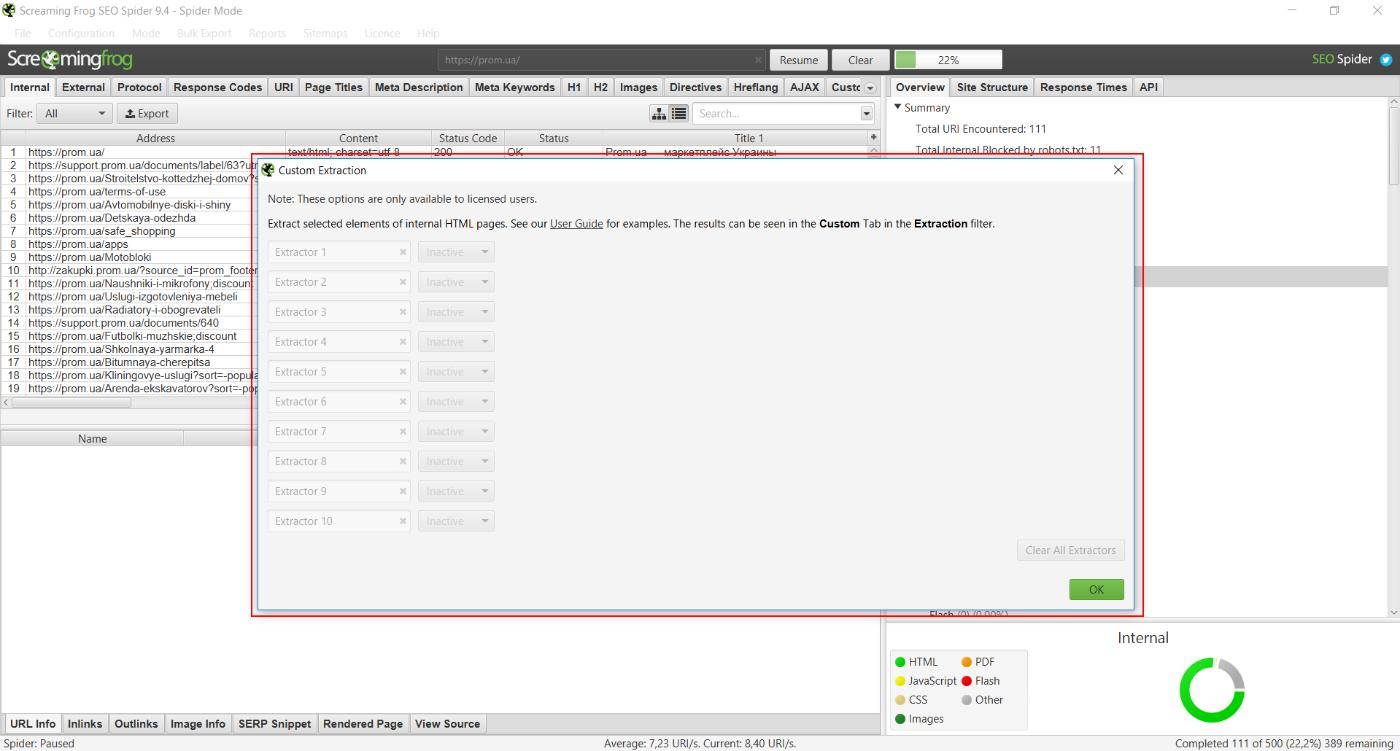 можно настроить пользовательский парсинг данных со страниц