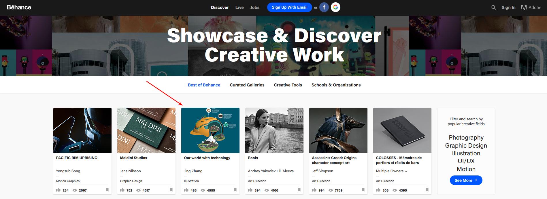 На главной странице Behance выставлены лучшие проекты