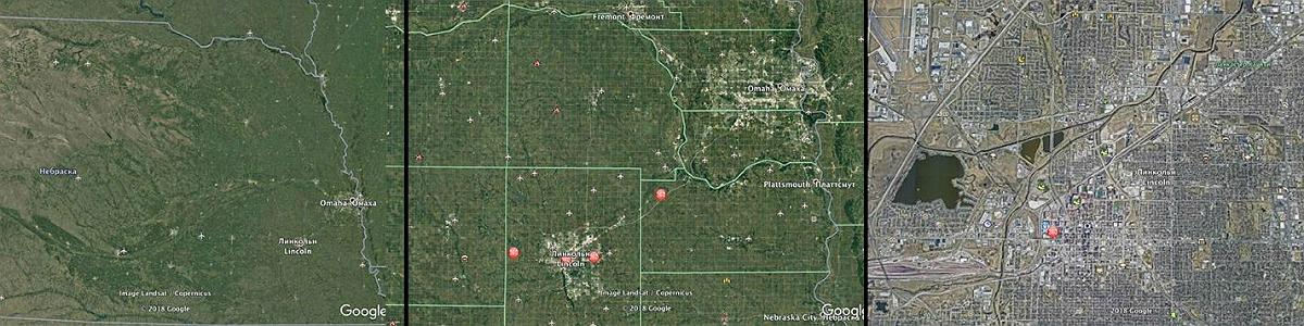 На иллюстрации слева направо поиск крупных городов на карте крупные города город