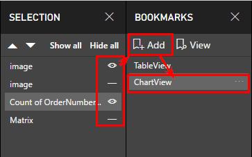 На панела «Selection» махаме видимостта на визуалните елементи, които оставихме за предишната отметка, и създаваме втора отметка «ChartView»