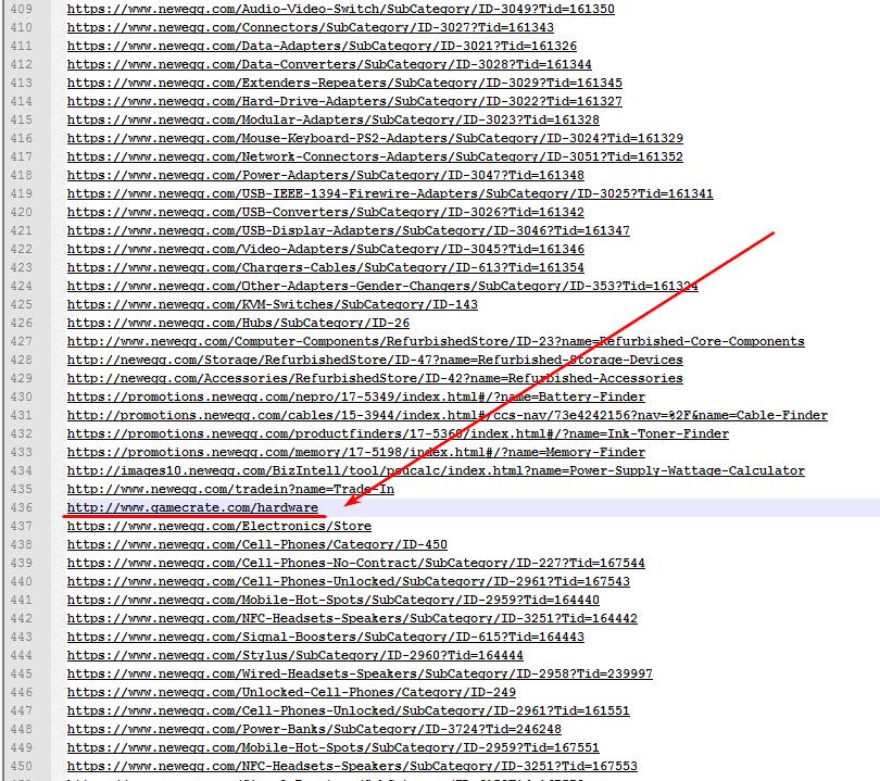 Например, нужно удалить URL других сайтов
