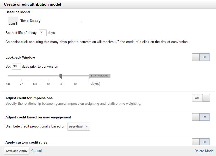 Настройка пользовательской модели атрибуции в Google Analytics
