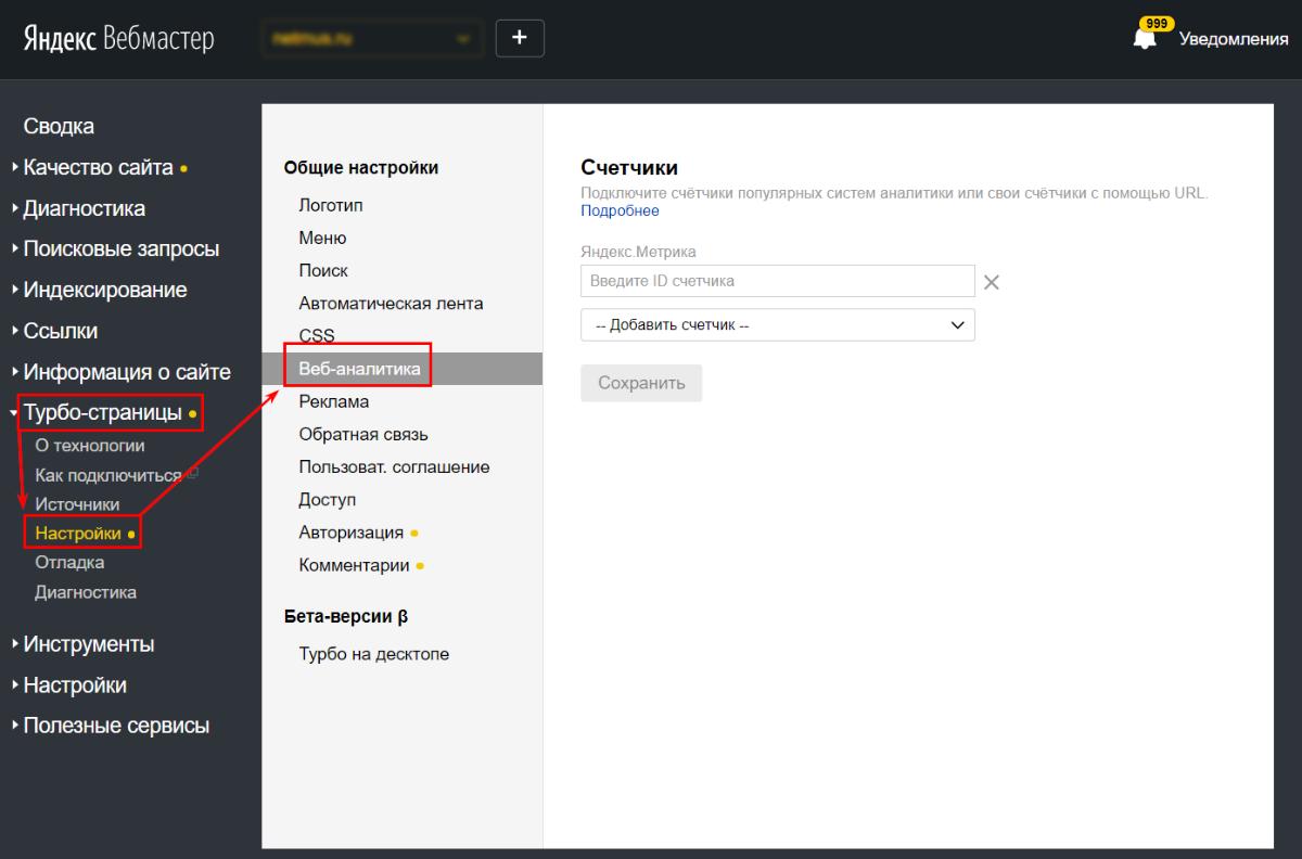 Настройка веб-аналитики для турбо-страниц