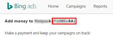 номер аккаунта Bing Ads