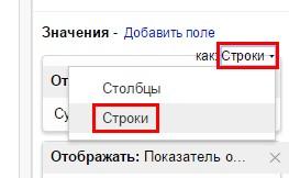 в редакторе отчетов в области значений переставьте переключатель в положение «как: Строки»