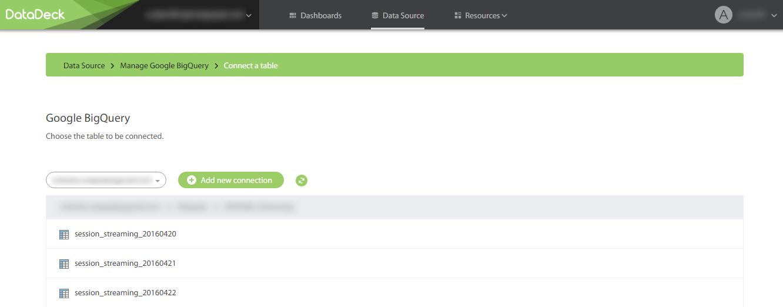 Подключение BigQuery к DataDeck