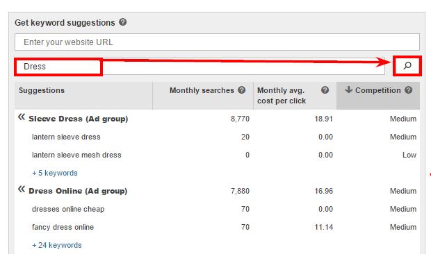 Подобрать ключевые слова в Bing Ads