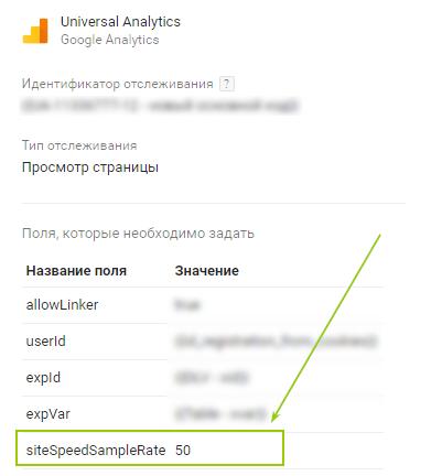 Поэтому мы увеличили процент выборки для сбора данных о скорости сайта до 50%. Это можно сделать с помощью Google Tag Manager в теге «Просмотр страниц»