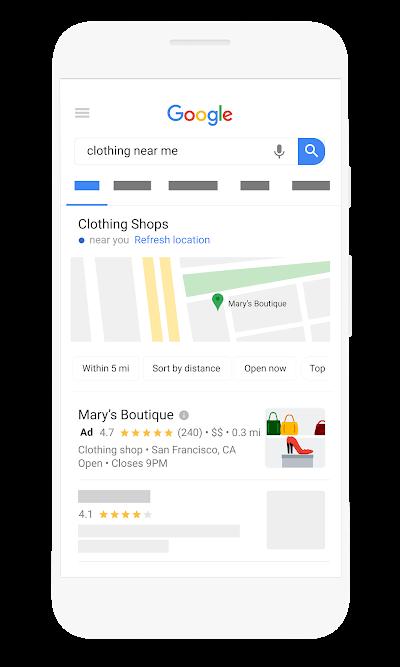 Показ объявлений в поисковой системе Google с отметкой на карте