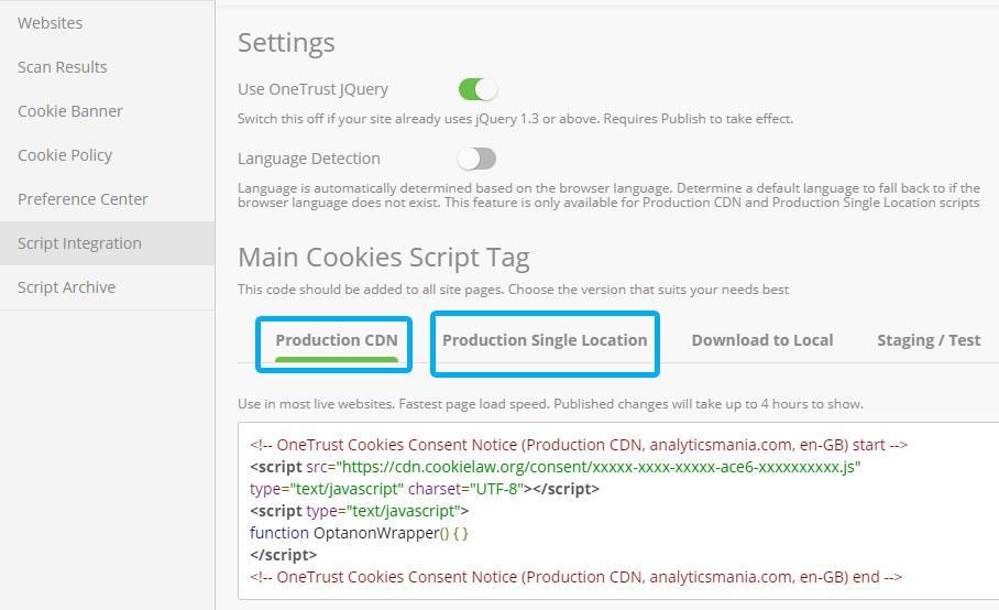 получаем скрипт OneTrust, который затем интегрируем на сайт с помощью соответствующих настроек Google Tag Manger