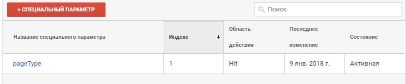 Пользовательские параметры