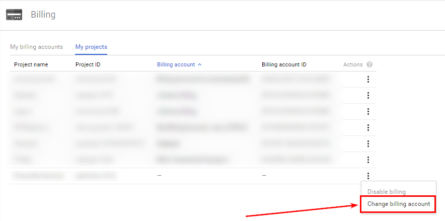 После создания биллинг-аккаунта зайдите по ссылке и привяжите выбранный биллинг-аккаунт к проекту