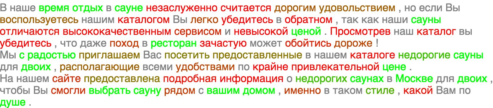 Пример анализа фрагмента текста по сложному для предыдущего метода запросу «сауна на двоих»