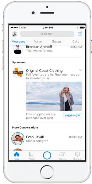 Пример рекламы в Messenger