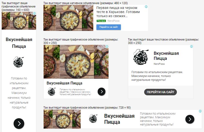 Примеры баннеров адаптивных объявлений для рекламы доставки пиццы Neropizza