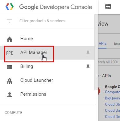 Пункт «API manager»