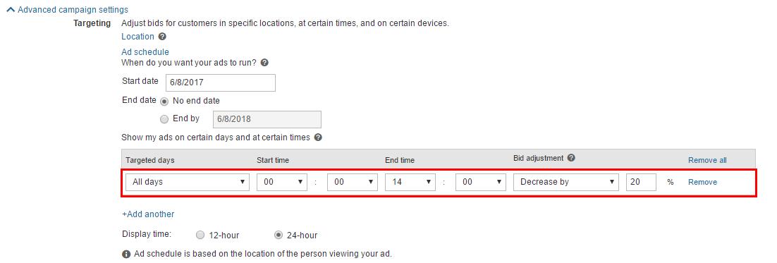 Расписание показов в Bing