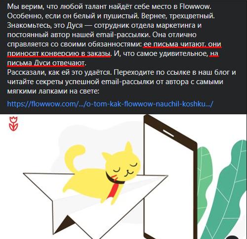 Рассылка от кошки Дуси