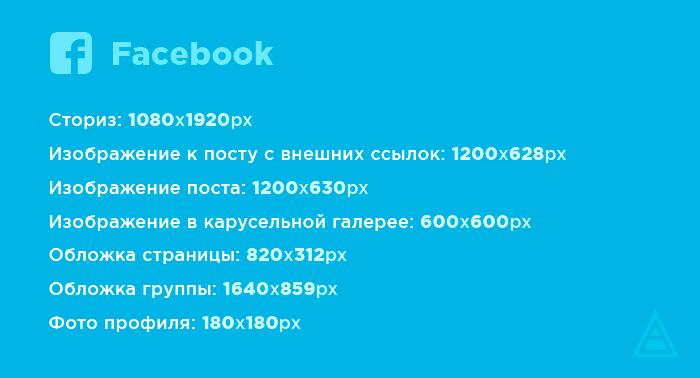 Размеры картинок для Facebook