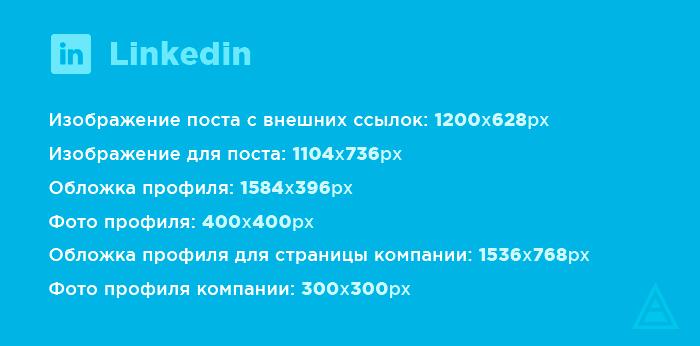 Размеры картинок для Linkedin