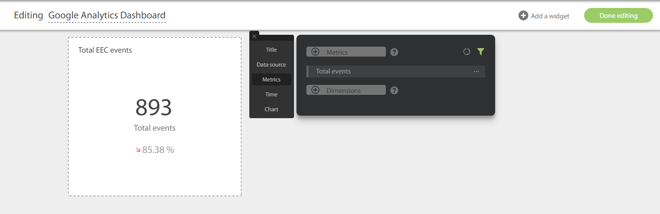 Редактирование виджета в DataDeck