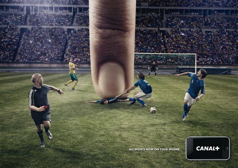 Реклама iOS-приложения французского телеканала, направленная на футбольных болельщиков