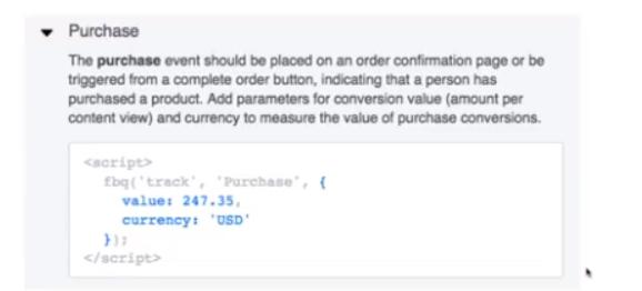 Базовый код события с разными наборами параметров