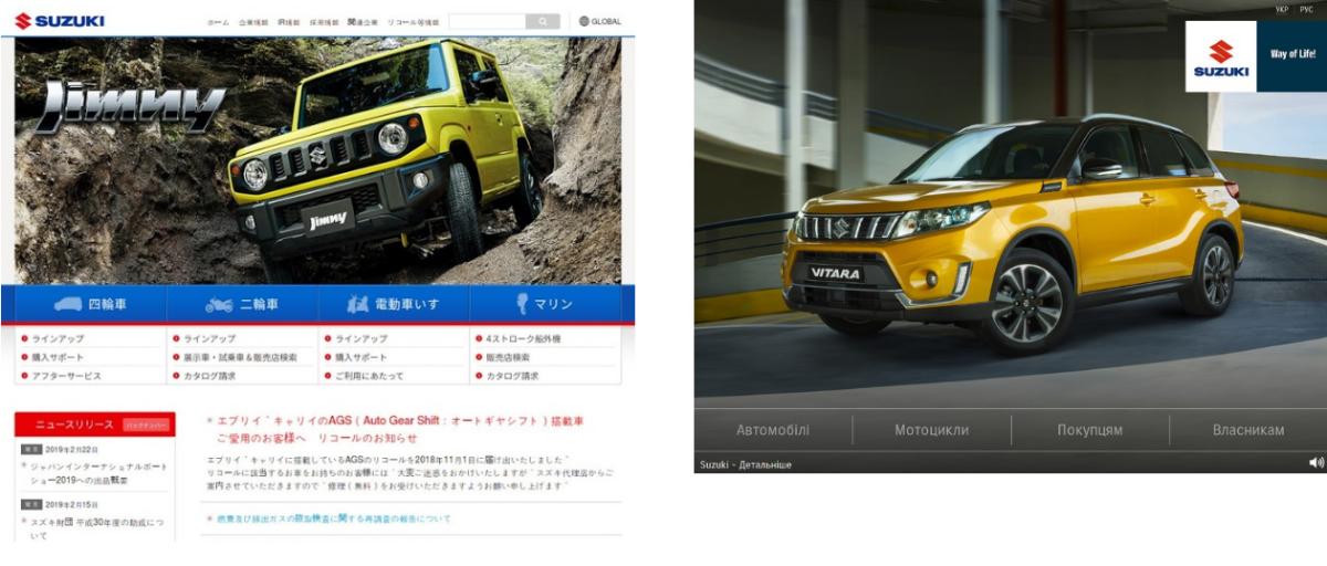 Сайт Suzuki в Японии и в Украине