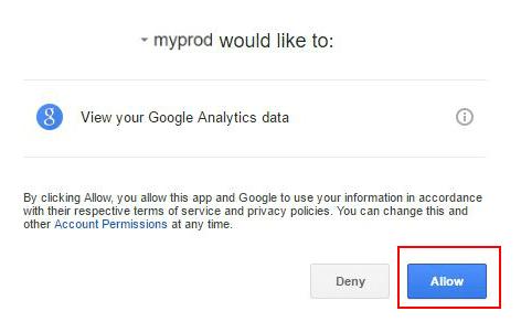 Да дадете разрешение за преглед на данни в Google Analytics.