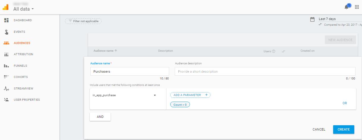 Аудитории на потребителите по критерии в Firebase