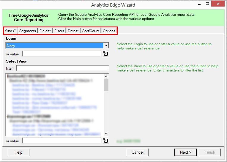 Откроется основное диалоговое окно Analytics Edge Wizard с семью основными вкладками