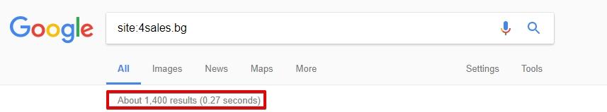 Количеството страници в индекса може да се провери с помощта на оператора «site:»