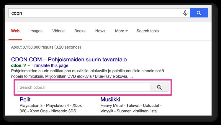 Поисковая форма связана с внутренней системой поиска на сайте, что позволяет делать поиск непосредственно по содержанию сайта