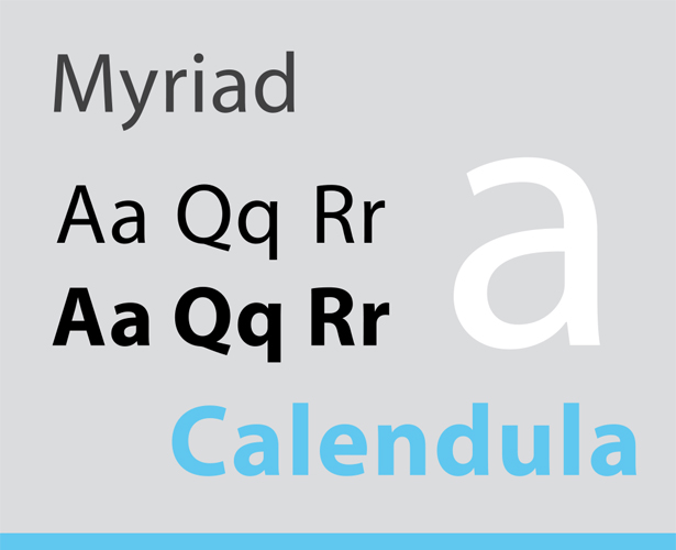 Sans Serif typefaces are Calibri, Myriad, Verdana.