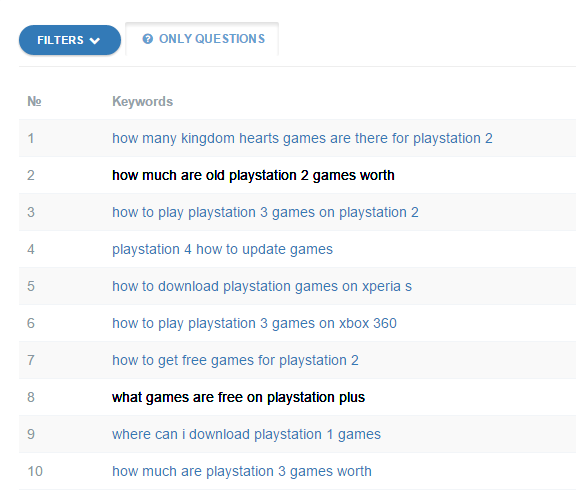playstation games search questions