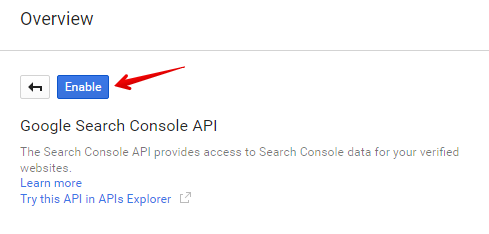 Search </p> <p>Console API at search results, click on its name and then press 'Enable' button